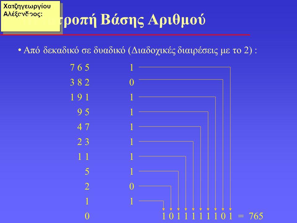 Χατζηγεωργίου Αλέξανδρος: • Από δεκαδικό σε δυαδικό (Διαδοχικές διαιρέσεις με το 2) : Μετατροπή Βάσης Αριθμού 7 6 51 3 8 2 0 1 9 11 9 51 4 71 2 31 1 1