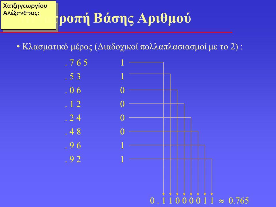 Χατζηγεωργίου Αλέξανδρος: • Κλασματικό μέρος (Διαδοχικοί πολλαπλασιασμοί με το 2) : Μετατροπή Βάσης Αριθμού. 7 6 51. 5 3 1. 0 60. 1 20. 2 40. 4 80. 9