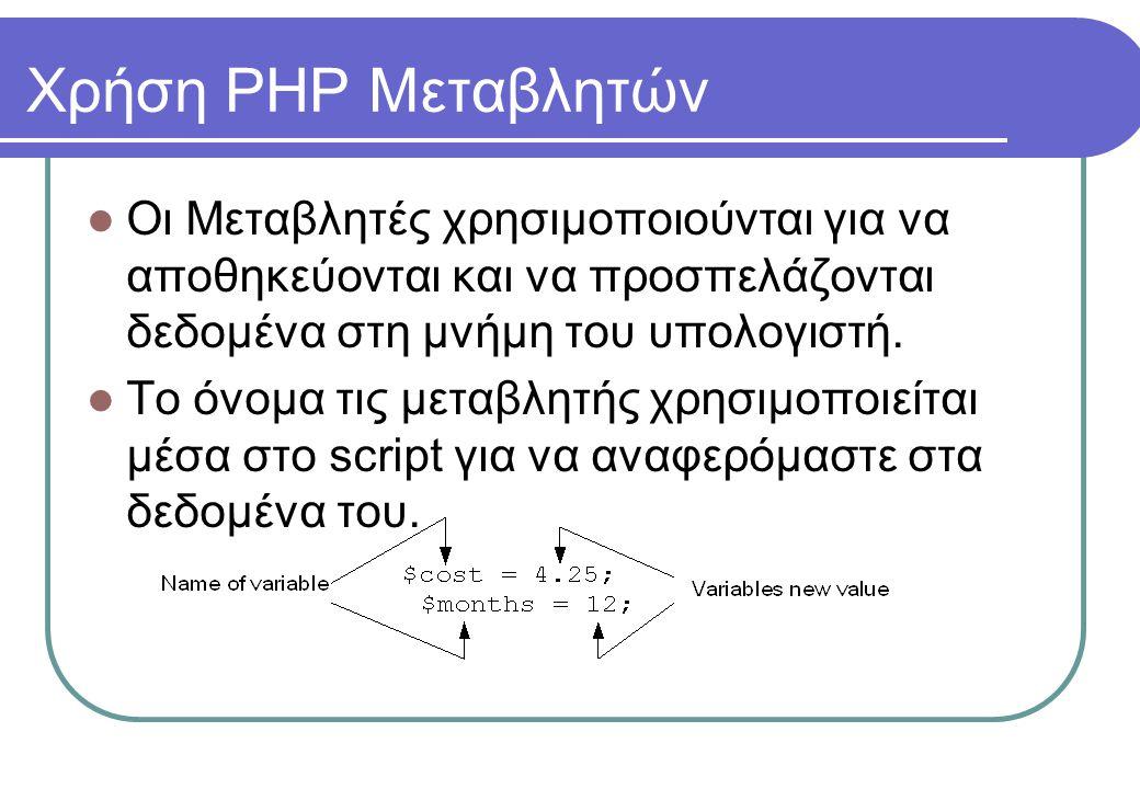Χρήση PHP Μεταβλητών  Οι Μεταβλητές χρησιμοποιούνται για να αποθηκεύονται και να προσπελάζονται δεδομένα στη μνήμη του υπολογιστή.  Το όνομα τις μετ