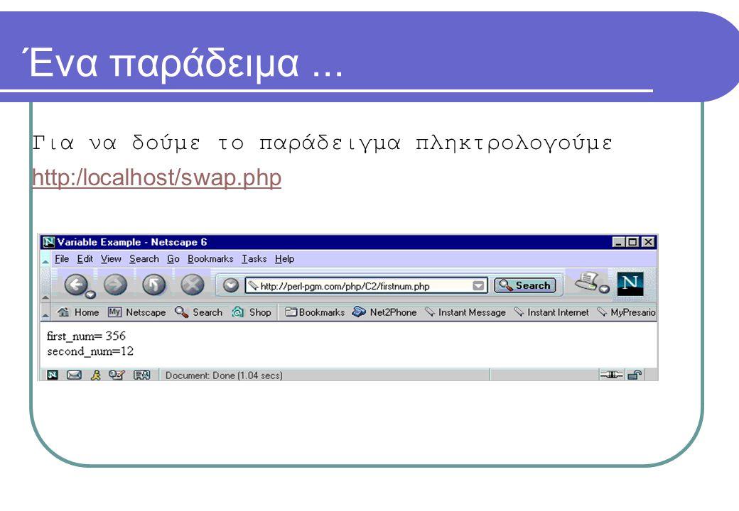 Ένα παράδειμα... Για να δούμε το παράδειγμα πληκτρολογούμε http:/localhost/swap.php