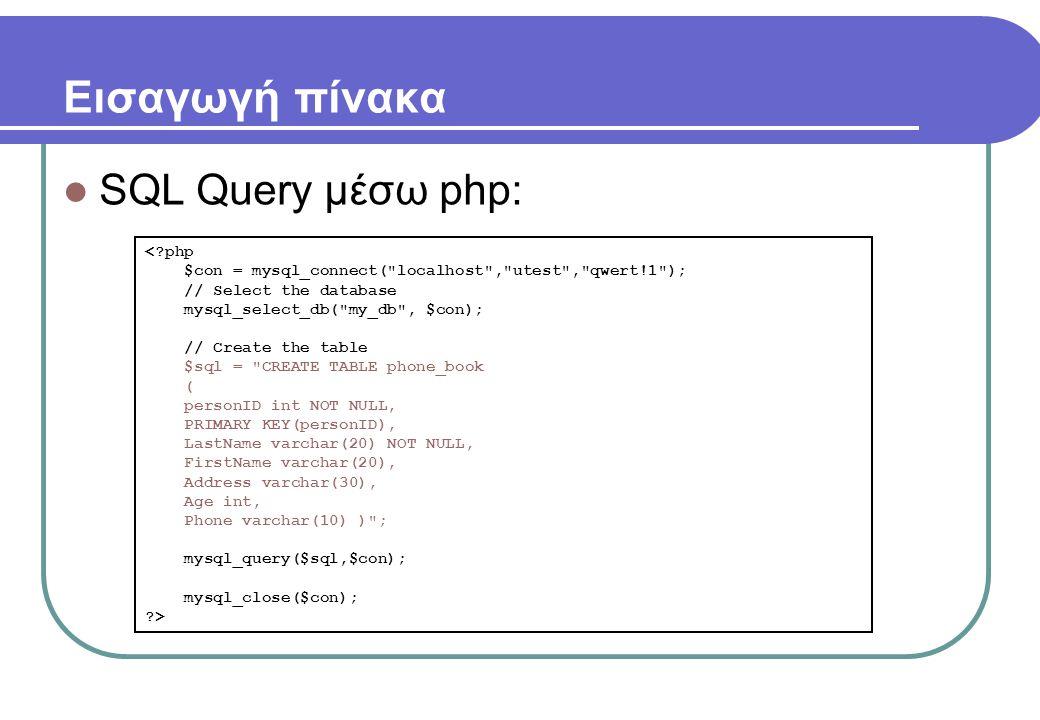 Εισαγωγή πίνακα  SQL Query μέσω php: <?php $con = mysql_connect( localhost , utest , qwert!1 ); // Select the database mysql_select_db( my_db , $con); // Create the table $sql = CREATE TABLE phone_book ( personID int NOT NULL, PRIMARY KEY(personID), LastName varchar(20) NOT NULL, FirstName varchar(20), Address varchar(30), Age int, Phone varchar(10) ) ; mysql_query($sql,$con); mysql_close($con); ?>