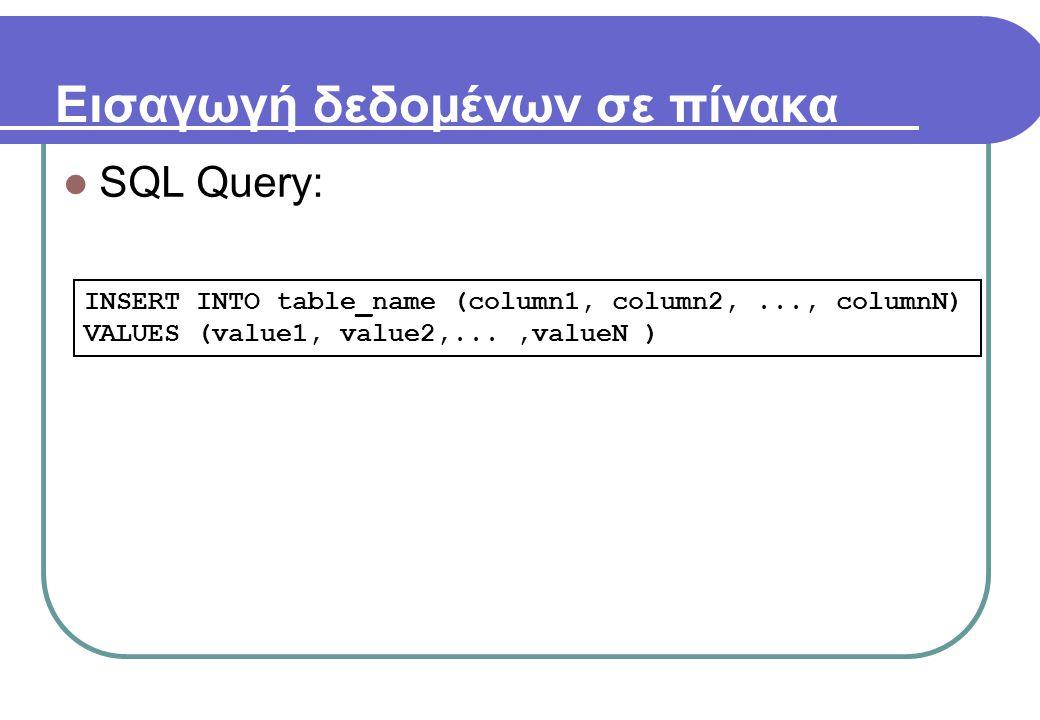 Εισαγωγή δεδομένων σε πίνακα  SQL Query: INSERT INTO table_name (column1, column2,..., columnN) VALUES (value1, value2,...,valueN )