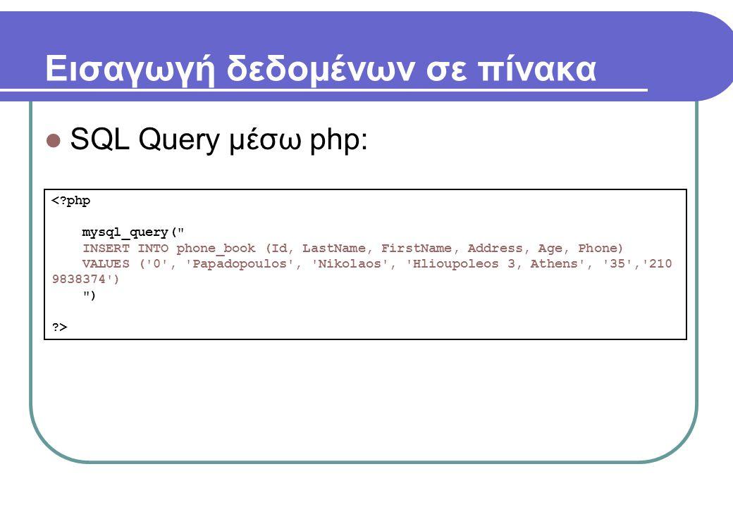 Εισαγωγή δεδομένων σε πίνακα  SQL Query μέσω php: <?php mysql_query(