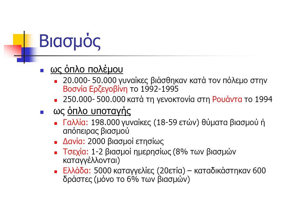 Βιασμός  ως όπλο πολέμου  20.000- 50.000 γυναίκες βιάσθηκαν κατά τον πόλεμο στην Βοσνία Ερζεγοβίνη το 1992-1995  250.000- 500.000 κατά τη γενοκτονί