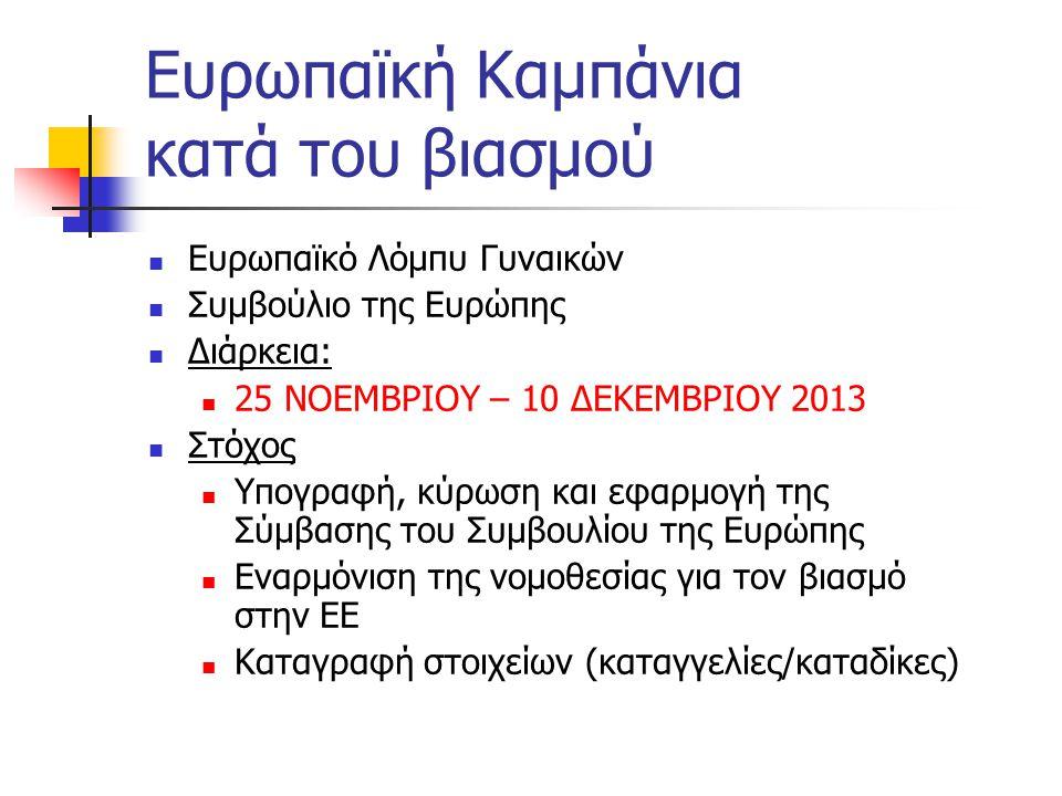 Ευρωπαϊκή Καμπάνια κατά του βιασμού  Ευρωπαϊκό Λόμπυ Γυναικών  Συμβούλιο της Ευρώπης  Διάρκεια:  25 ΝΟΕΜΒΡΙΟΥ – 10 ΔΕΚΕΜΒΡΙΟΥ 2013  Στόχος  Υπογ