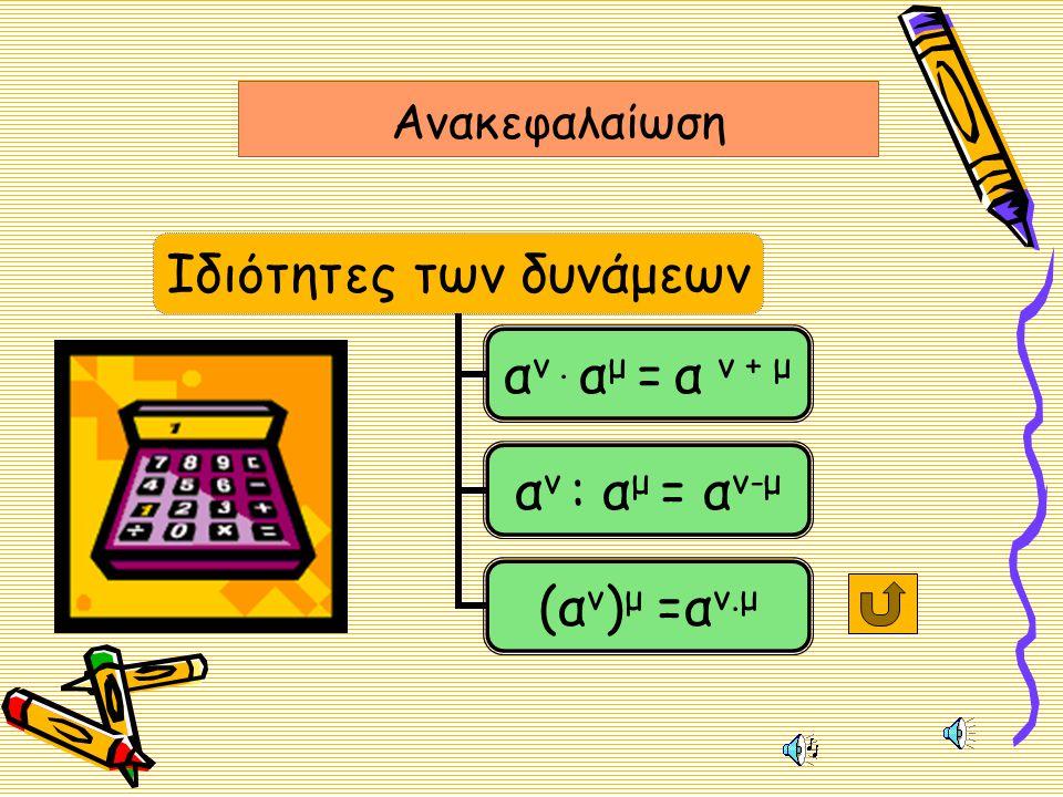 Ιδιότητα 3 •(•(α ν ) μ = α •Μ•Μια δύναμη υψωμένη σε άλλο εκθέτη ισούται με μια δύναμη με την ίδια βάση και εκθέτη το γινόμενο των δυο εκθετών ν.μ