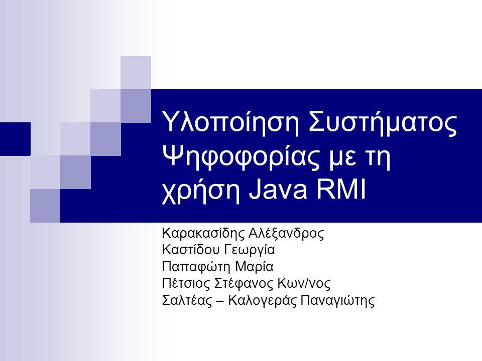 Υλοποίηση Συστήματος Ψηφοφορίας με τη χρήση Java RMI Καρακασίδης Αλέξανδρος Καστίδου Γεωργία Παπαφώτη Μαρία Πέτσιος Στέφανος Κων/νος Σαλτέας – Καλογερ