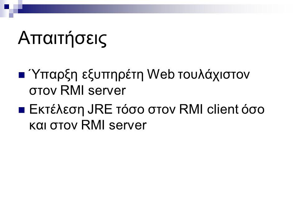 Απαιτήσεις  Ύπαρξη εξυπηρέτη Web τουλάχιστον στον RMI server  Εκτέλεση JRE τόσο στον RMI client όσο και στον RMI server