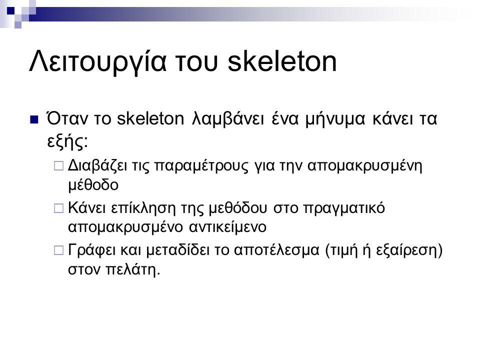 Λειτουργία του skeleton  Όταν το skeleton λαμβάνει ένα μήνυμα κάνει τα εξής:  Διαβάζει τις παραμέτρους για την απομακρυσμένη μέθοδο  Κάνει επίκληση
