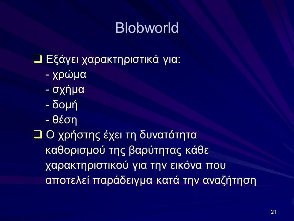 21 Blobworld  Εξάγει χαρακτηριστικά για: - χρώμα - χρώμα - σχήμα - σχήμα - δομή - δομή - θέση - θέση  Ο χρήστης έχει τη δυνατότητα καθορισμού της βαρύτητας κάθε καθορισμού της βαρύτητας κάθε χαρακτηριστικού για την εικόνα που χαρακτηριστικού για την εικόνα που αποτελεί παράδειγμα κατά την αναζήτηση αποτελεί παράδειγμα κατά την αναζήτηση