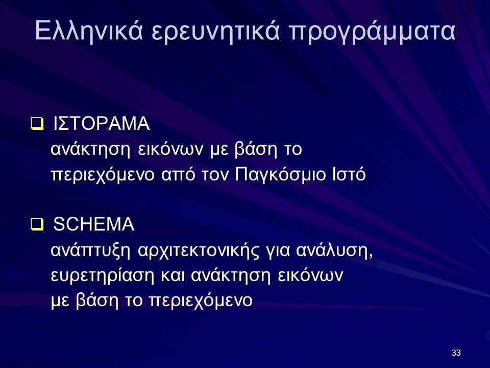 33 Ελληνικά ερευνητικά προγράμματα  ΙΣΤΟΡΑΜΑ ανάκτηση εικόνων με βάση το ανάκτηση εικόνων με βάση το περιεχόμενο από τον Παγκόσμιο Ιστό περιεχόμενο α