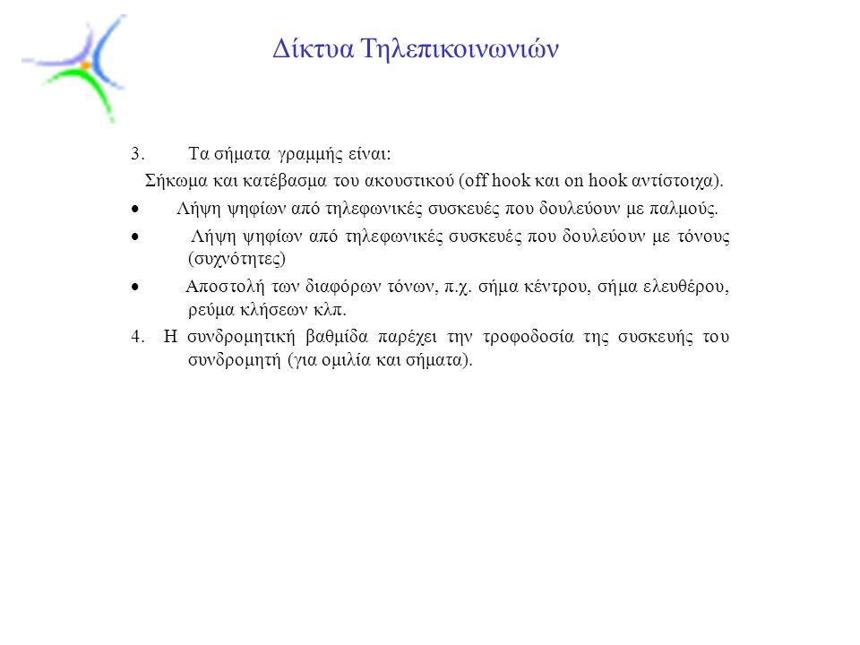 Slide 19 Δίκτυα Τηλεπικοινωνιών 3.Tα σήματα γραμμής είναι: Σήκωμα και κατέβασμα του ακουστικού (off hook και on hook αντίστοιχα).  Λήψη ψηφίων από τη