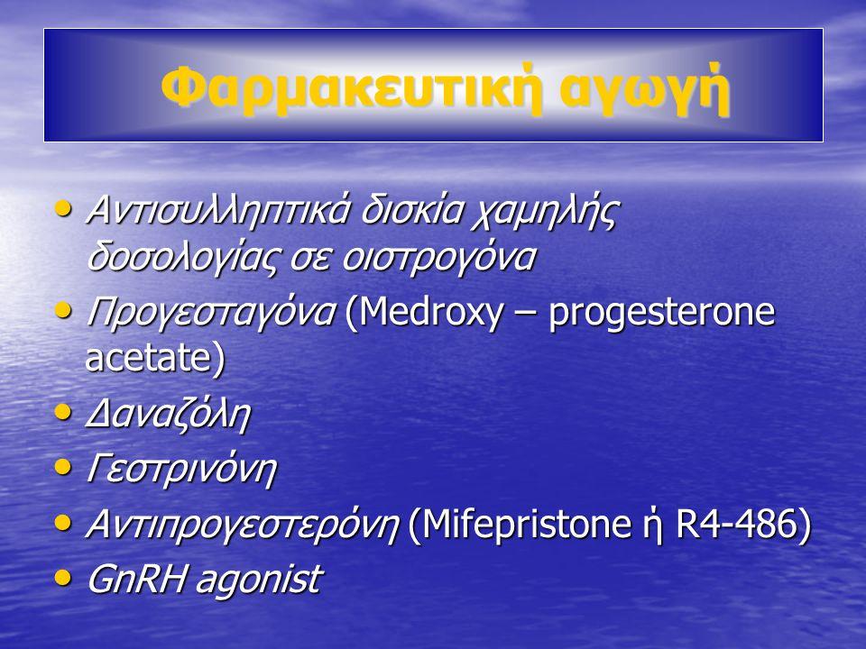 Φαρμακευτική αγωγή Φαρμακευτική αγωγή • Αντισυλληπτικά δισκία χαμηλής δοσολογίας σε οιστρογόνα • Προγεσταγόνα (Medroxy – progesterone acetate) • Δαναζόλη • Γεστρινόνη • Αντιπρογεστερόνη (Mifepristone ή R4-486) • GnRH agonist