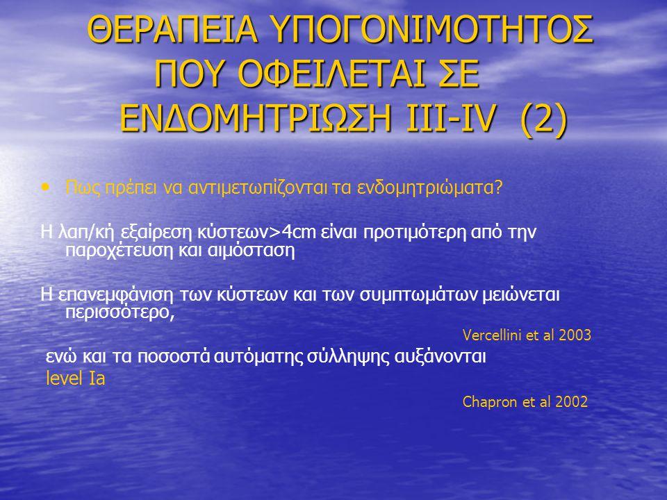 ΘΕΡΑΠΕΙΑ ΥΠΟΓΟΝΙΜΟΤΗΤΟΣ ΠΟΥ ΟΦΕΙΛΕΤΑΙ ΣΕ ΕΝΔΟΜΗΤΡΙΩΣΗ III-IV (2) ΘΕΡΑΠΕΙΑ ΥΠΟΓΟΝΙΜΟΤΗΤΟΣ ΠΟΥ ΟΦΕΙΛΕΤΑΙ ΣΕ ΕΝΔΟΜΗΤΡΙΩΣΗ III-IV (2) • • Πως πρέπει να αντιμετωπίζονται τα ενδομητριώματα.
