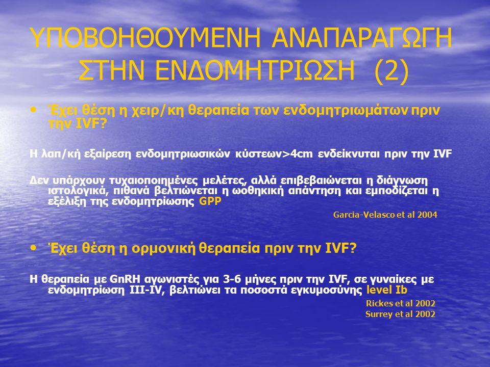 ΥΠΟΒΟΗΘΟΥΜΕΝΗ ΑΝΑΠΑΡΑΓΩΓΗ ΣΤΗΝ ΕΝΔΟΜΗΤΡΙΩΣΗ (2) • • Έχει θέση η χειρ/κη θεραπεία των ενδομητριωμάτων πριν την IVF.
