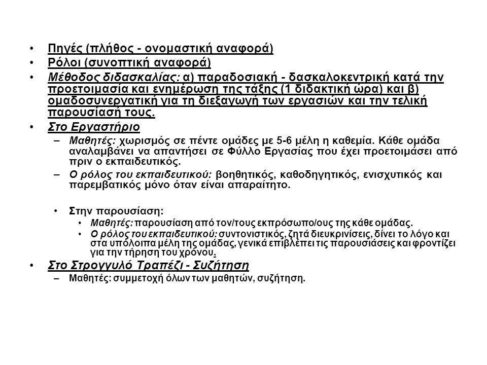 •Πηγές (πλήθος - ονομαστική αναφορά) •Ρόλοι (συνοπτική αναφορά) •Μέθοδος διδασκαλίας: α) παραδοσιακή - δασκαλοκεντρική κατά την προετοιμασία και ενημέρωση της τάξης (1 διδακτική ώρα) και β) ομαδοσυνεργατική για τη διεξαγωγή των εργασιών και την τελική παρουσίασή τους.