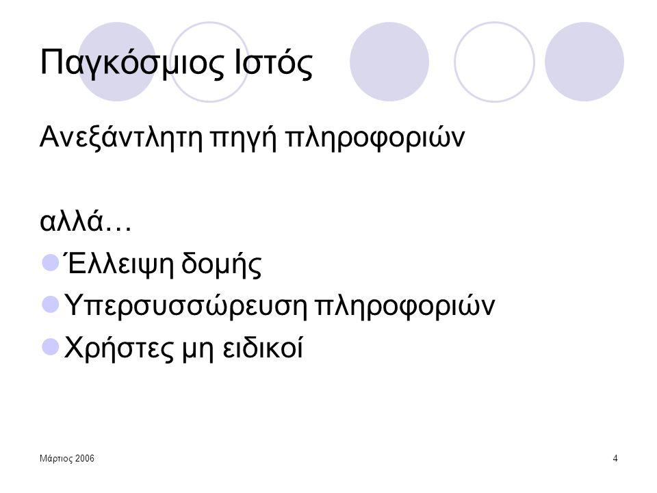 Μάρτιος 200615 Μέθοδος Alergia  Συμπερασμός πιθανοτικής κανονικής γραμματικής (αυτομάτου)  Ξεκινά από δενδρική δομή (PPTA) Εφαρμογή: Σύμβολα ↔ Ιστοσελίδες Συμβολοσειρές ↔ Σύνοδοι χρήσης