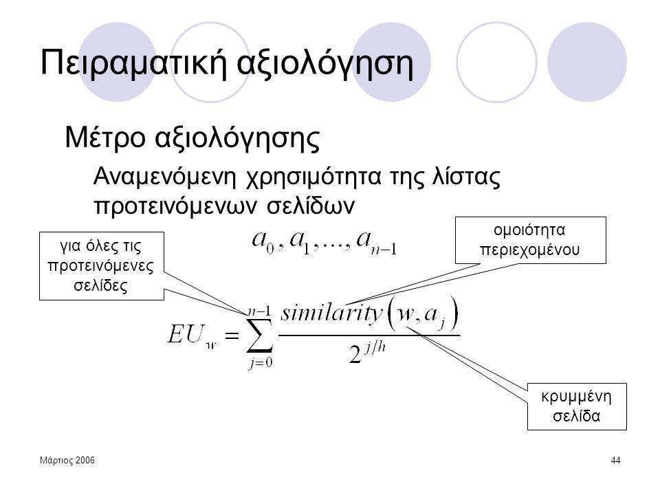 Μάρτιος 200644 Πειραματική αξιολόγηση Μέτρο αξιολόγησης Αναμενόμενη χρησιμότητα της λίστας προτεινόμενων σελίδων ομοιότητα περιεχομένου για όλες τις π