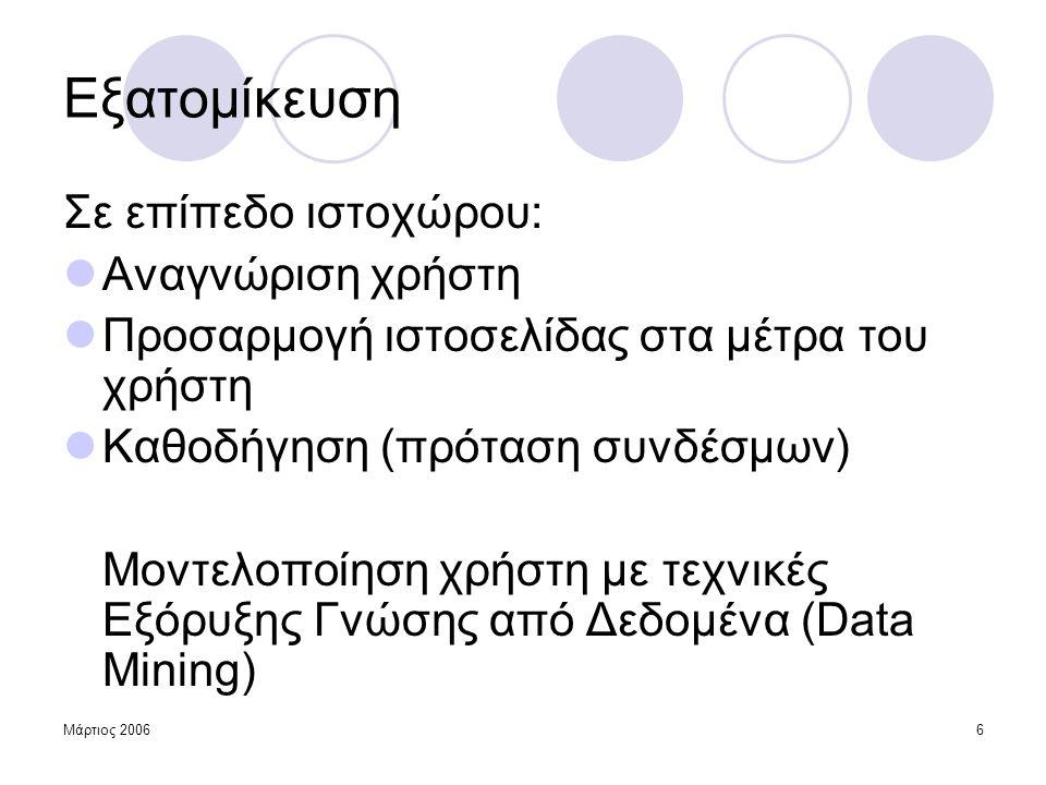 Μάρτιος 200647 Συμπεράσματα  Η νέα μέθοδος δεν ξεπέρασε το μοντέλο σύγκρισης  Η γνώση της σειράς επίσκεψης μάλλον δε συμβάλλει στην πρόταση σελίδων Μεγάλη ανομοιογένεια δεδομένων χρήσης  Πλοήγηση μέσα σε μία θεματική κατηγορία