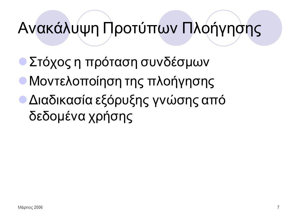 Μάρτιος 20068 Προσεγγίσεις  Ντετερμινιστικές  Εύρεση συχνά επαναλαμβανόμενων ακολουθιών σελίδων  Κανόνες διαδοχής, Κοινότητες χρηστών  Στοχαστικές  Κατασκευή μοντέλου πιθανοτήτων  Χρήση μαρκοβιανών μοντέλων  Χρήση Συμπερασμού Γραμματικών