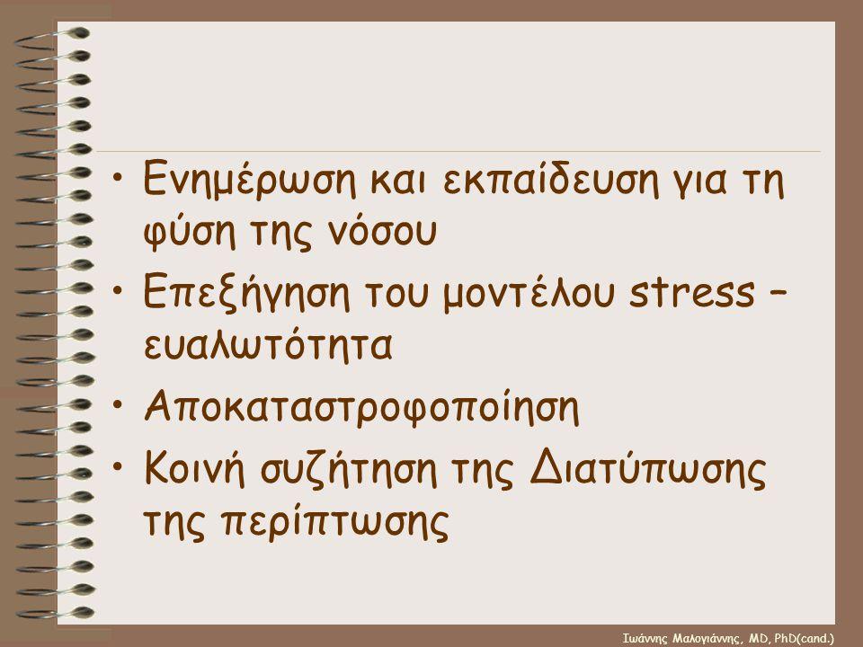 Ιωάννης Μαλογιάννης, MD, PhD(cand.) •Ενημέρωση και εκπαίδευση για τη φύση της νόσου •Επεξήγηση του μοντέλου stress – ευαλωτότητα •Αποκαταστροφοποίηση