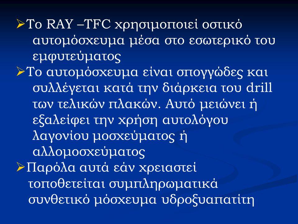  Το RAY –TFC χρησιμοποιεί οστικό αυτομόσχευμα μέσα στο εσωτερικό του εμφυτεύματος  Το αυτομόσχευμα είναι σπογγώδες και συλλέγεται κατά την διάρκεια