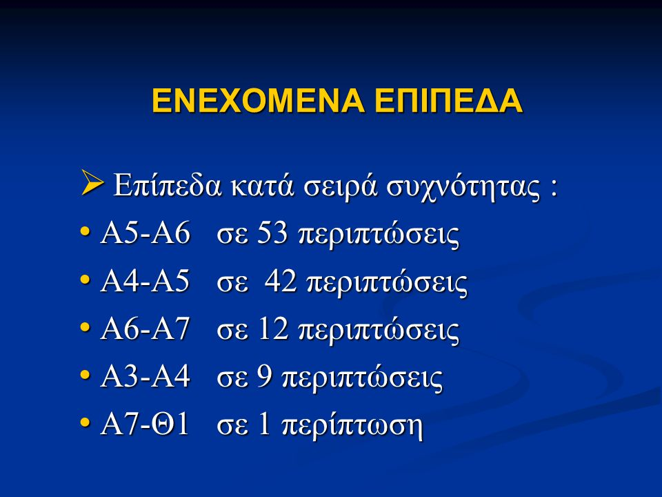 ENEXOMENA EΠΙΠΕΔΑ  Επίπεδα κατά σειρά συχνότητας : • Α5-Α6 σε 53 περιπτώσεις • Α4-Α5 σε 42 περιπτώσεις • Α6-Α7 σε 12 περιπτώσεις • Α3-Α4 σε 9 περιπτώ