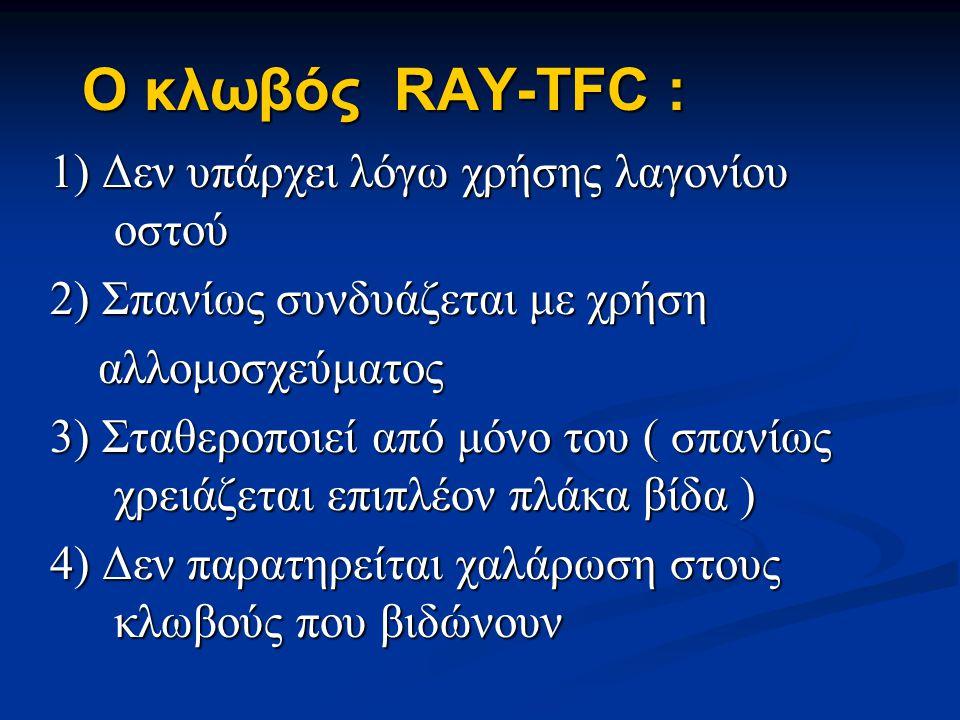 Ο κλωβός RAY-TFC : 1) Δεν υπάρχει λόγω χρήσης λαγονίου οστού 2) Σπανίως συνδυάζεται με χρήση αλλομοσχεύματος αλλομοσχεύματος 3) Σταθεροποιεί από μόνο