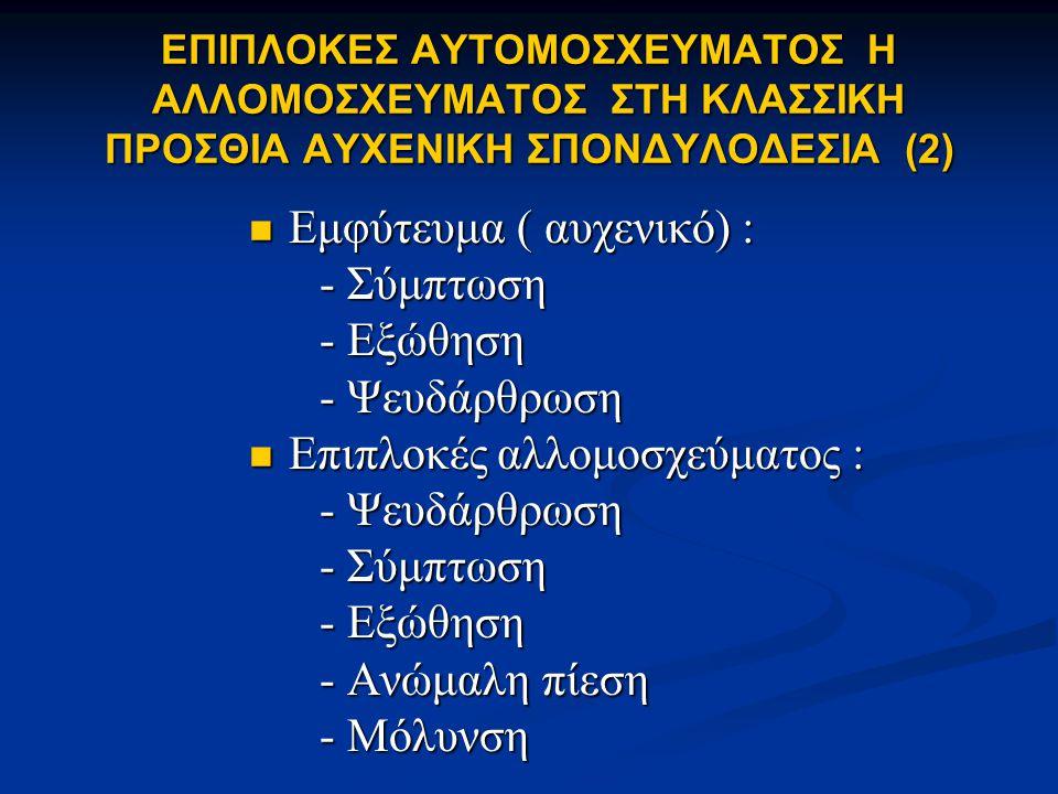 ΕΠΙΠΛΟΚΕΣ ΤΗΣ ΠΡΟΣΘΙΑΣ ΑΥΧΕΝΙΚΗΣ ΣΠΟΝΔΥΛΟΔΕΣΙΑΣ Επιπλοκές που σχετίζονται με την αυχενική προσπέλαση : - Νευρολογικές 0,6-6,6 % - Νευρολογικές 0,6-6,6 % - Αγγειακές 0,5 - Αγγειακές 0,5 - Σπλαχνικές 0,25 - Σπλαχνικές 0,25 - Διαφυγής ΕΝΥ 1,7 - Διαφυγής ΕΝΥ 1,7 Επιπλοκές που σχετίζονται με το μόσχευμα : - Μετανάστευση 2,1-4,6 % - Μετανάστευση 2,1-4,6 % - Κύφωση > 10ο 3-10 - Κύφωση > 10ο 3-10 - Ψευδάρθρωση 1-3 - Ψευδάρθρωση 1-3 - iliac harvesting 10-18 - iliac harvesting 10-18