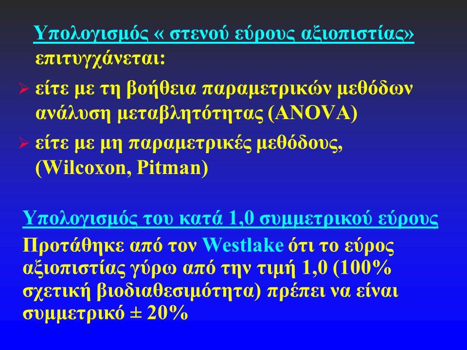 Υπολογισμός « στενού εύρους αξιοπιστίας» επιτυγχάνεται:  είτε με τη βοήθεια παραμετρικών μεθόδων ανάλυση μεταβλητότητας (ANOVA)  είτε με μη παραμετρ