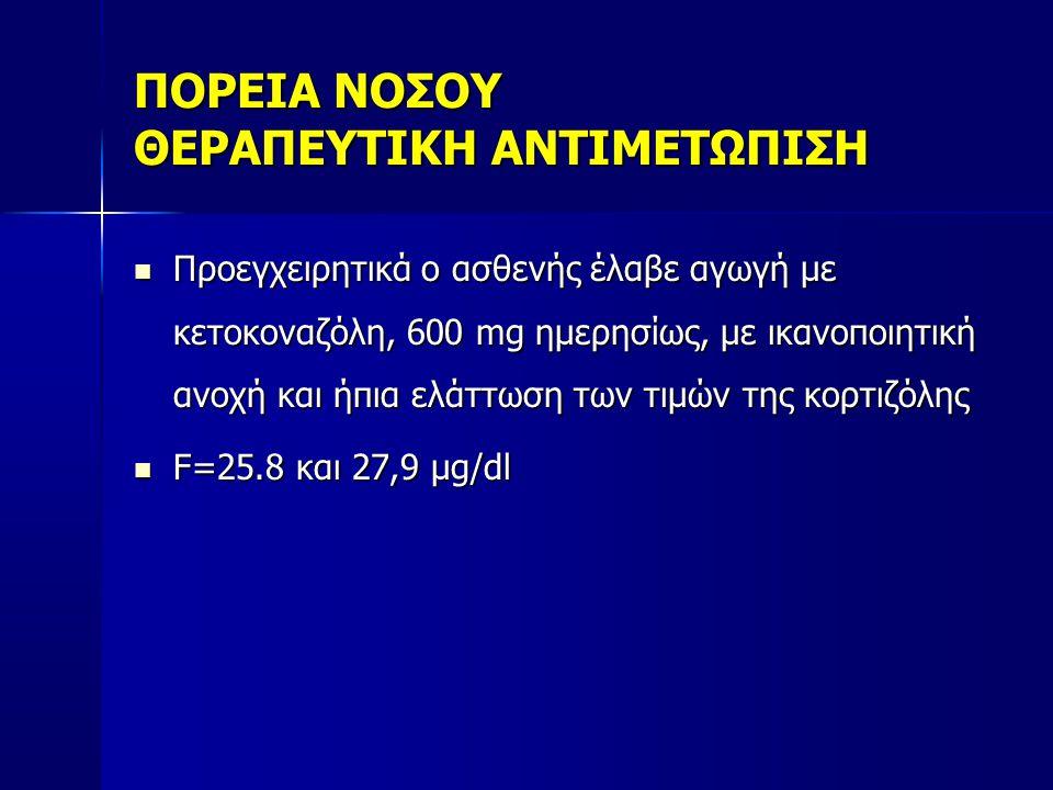 ΠΟΡΕΙΑ ΝΟΣΟΥ ΘΕΡΑΠΕΥΤΙΚΗ ΑΝΤΙΜΕΤΩΠΙΣΗ  Προεγχειρητικά ο ασθενής έλαβε αγωγή με κετοκοναζόλη, 600 mg ημερησίως, με ικανοποιητική ανοχή και ήπια ελάττωση των τιμών της κορτιζόλης  F=25.8 και 27,9 μg/dl