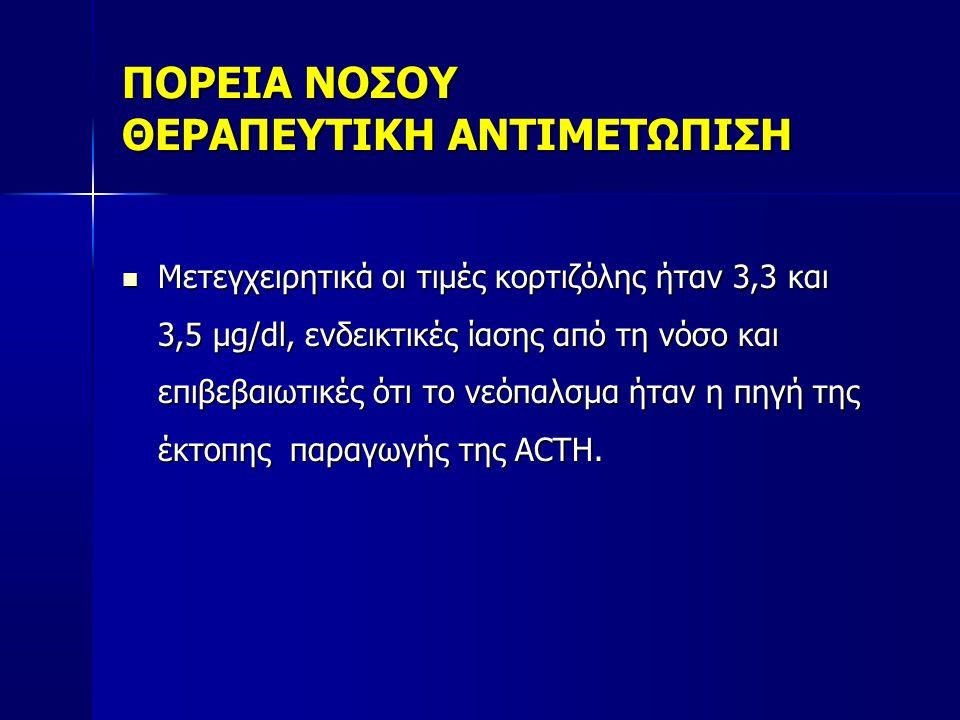 ΠΟΡΕΙΑ ΝΟΣΟΥ ΘΕΡΑΠΕΥΤΙΚΗ ΑΝΤΙΜΕΤΩΠΙΣΗ  Mετεγχειρητικά οι τιμές κορτιζόλης ήταν 3,3 και 3,5 μg/dl, ενδεικτικές ίασης από τη νόσο και επιβεβαιωτικές ότι το νεόπαλσμα ήταν η πηγή της έκτοπης παραγωγής της ACTH.