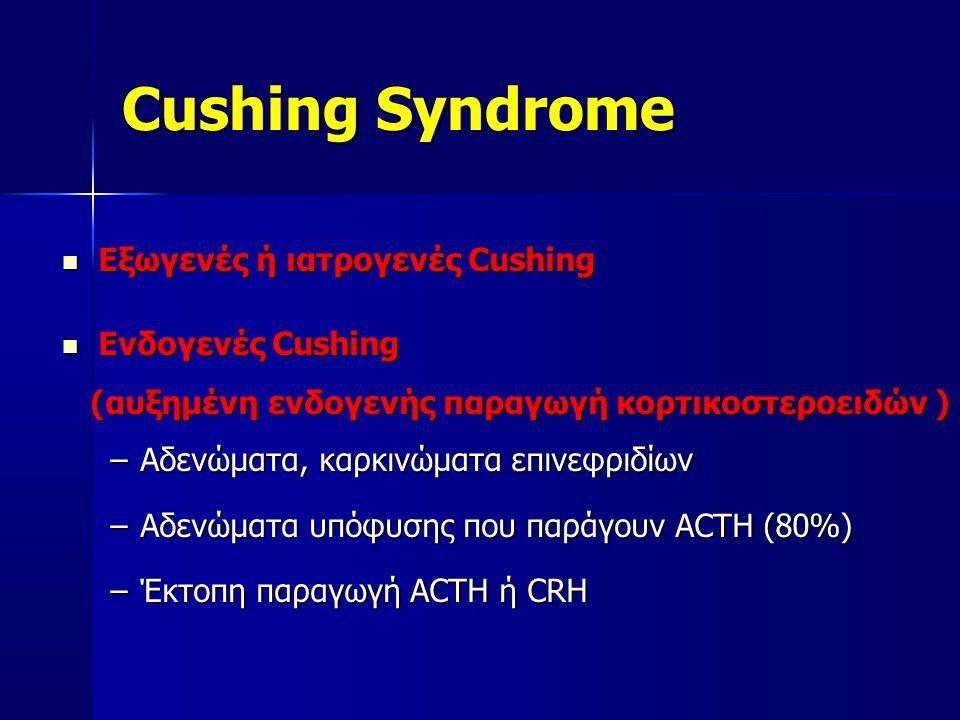 Cushing Syndrome  Εξωγενές ή ιατρογενές Cushing  Ενδογενές Cushing (αυξημένη ενδογενής παραγωγή κορτικοστεροειδών ) (αυξημένη ενδογενής παραγωγή κορτικοστεροειδών ) –Αδενώματα, καρκινώματα επινεφριδίων –Αδενώματα υπόφυσης που παράγουν ACTH (80%) –Έκτοπη παραγωγή ACTH ή CRH
