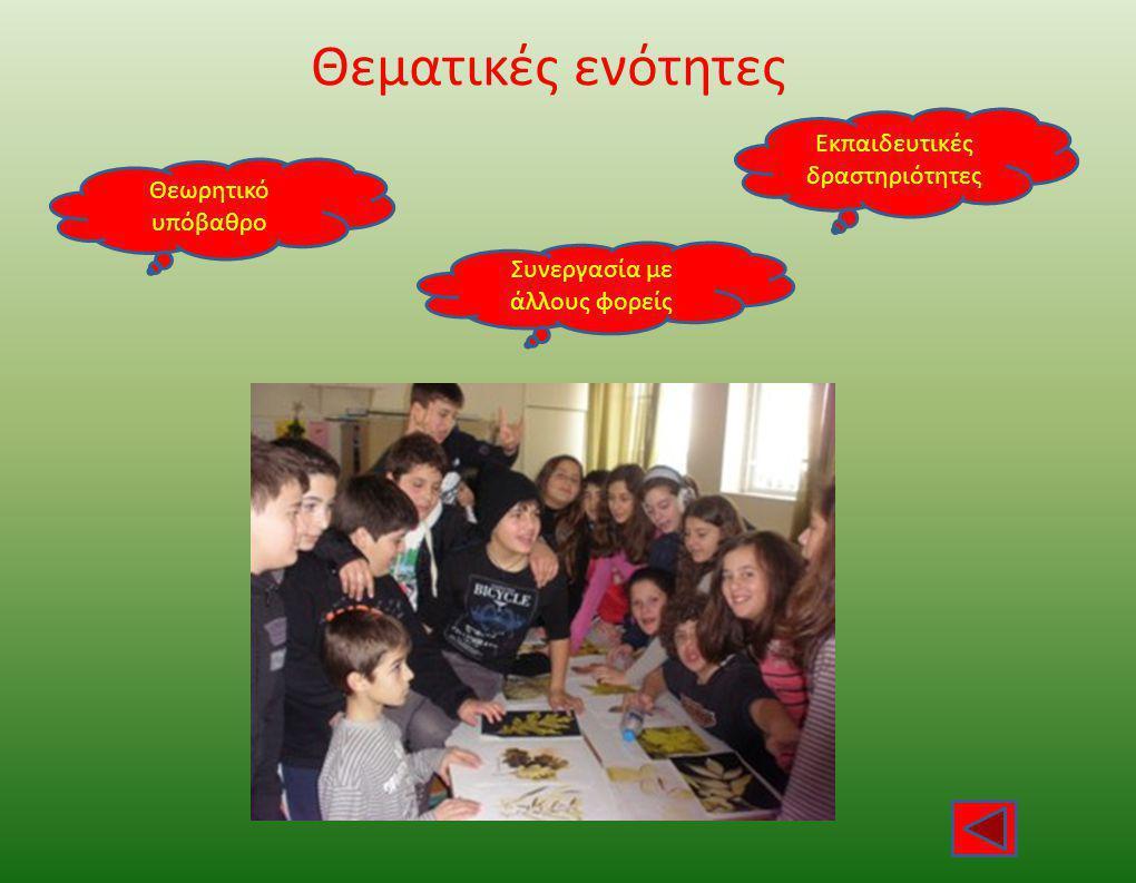 Θεματικές ενότητες Θεωρητικό υπόβαθρο Εκπαιδευτικές δραστηριότητες Συνεργασία με άλλους φορείς