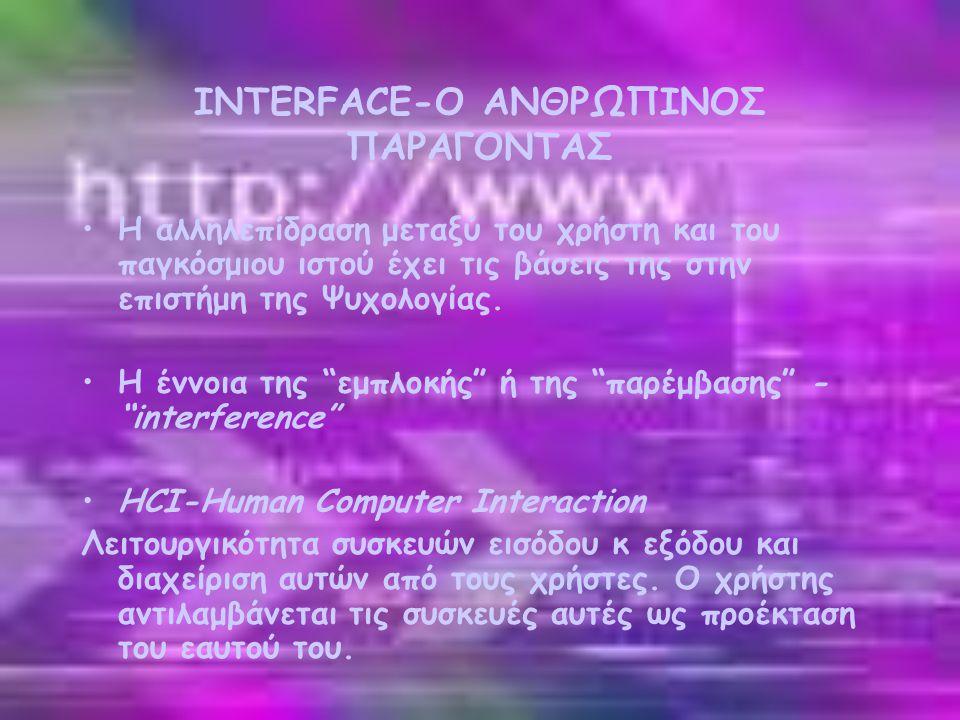 INTERFACE-Ο ΑΝΘΡΩΠΙΝΟΣ ΠΑΡΑΓΟΝΤΑΣ •Η αλληλεπίδραση μεταξύ του χρήστη και του παγκόσμιου ιστού έχει τις βάσεις της στην επιστήμη της Ψυχολογίας.