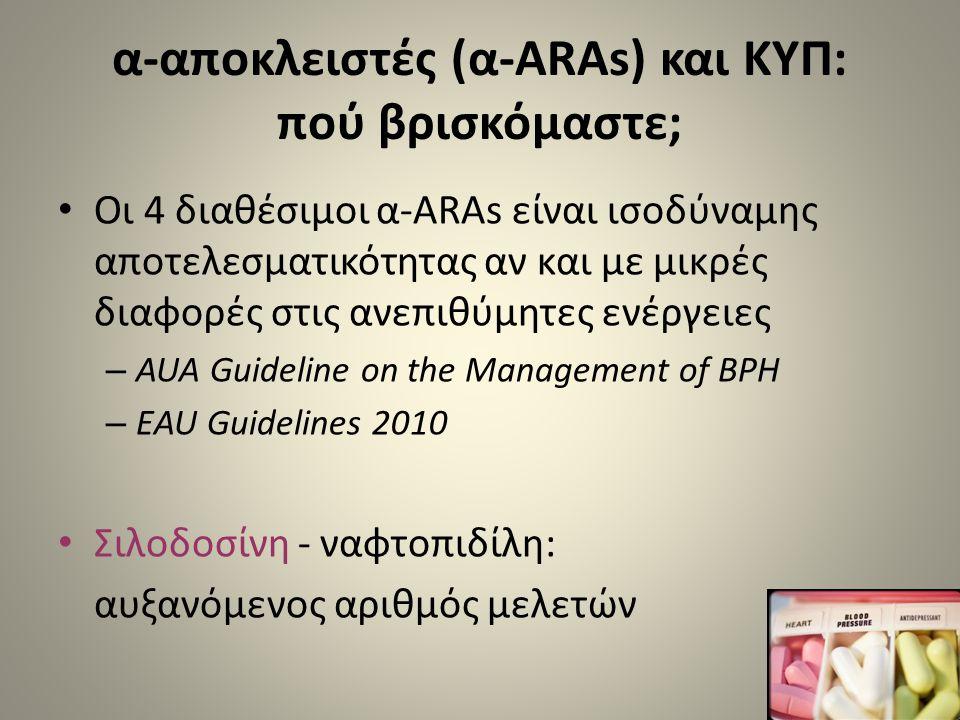 α-αποκλειστές (α-ARAs) και ΚΥΠ: πού βρισκόμαστε; • Οι 4 διαθέσιμοι α-ARAs είναι ισοδύναμης αποτελεσματικότητας αν και με μικρές διαφορές στις ανεπιθύμ