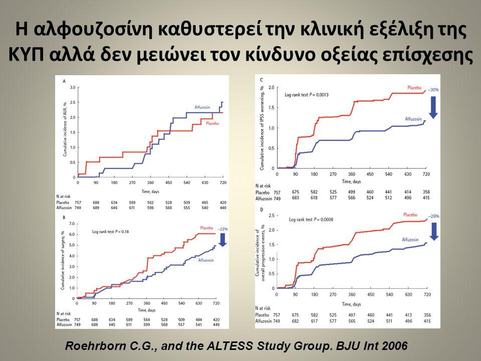 Η αλφουζοσίνη καθυστερεί την κλινική εξέλιξη της ΚΥΠ αλλά δεν μειώνει τον κίνδυνο οξείας επίσχεσης Roehrborn C.G., and the ALTESS Study Group. BJU Int