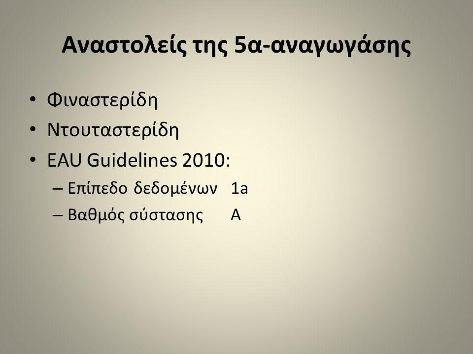 Αναστολείς της 5α-αναγωγάσης • Φιναστερίδη • Ντουταστερίδη • EAU Guidelines 2010: – Επίπεδο δεδομένων 1a – Βαθμός σύστασης Α