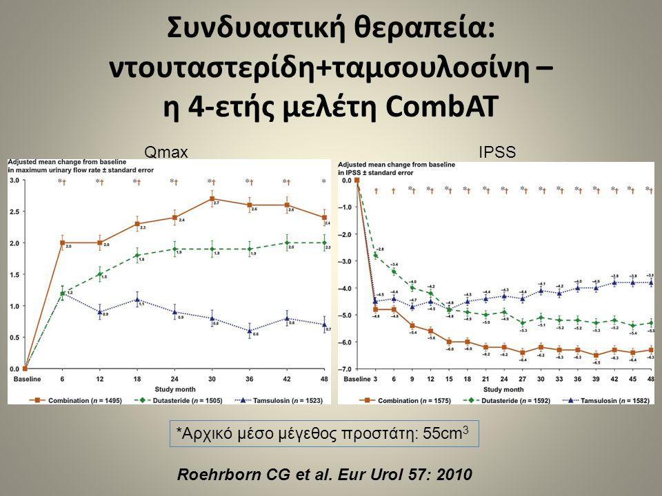 Συνδυαστική θεραπεία: ντουταστερίδη+ταμσουλοσίνη – η 4-ετής μελέτη CombAT Roehrborn CG et al. Eur Urol 57: 2010 QmaxIPSS *Αρχικό μέσο μέγεθος προστάτη