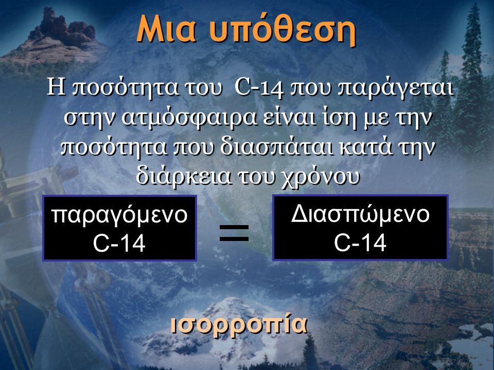 Μια υπόθεση Η ποσότητα του C-14 που παράγεται στην ατμόσφαιρα είναι ίση με την ποσότητα που διασπάται κατά την διάρκεια του χρόνου παραγόμενο C-14 Δια