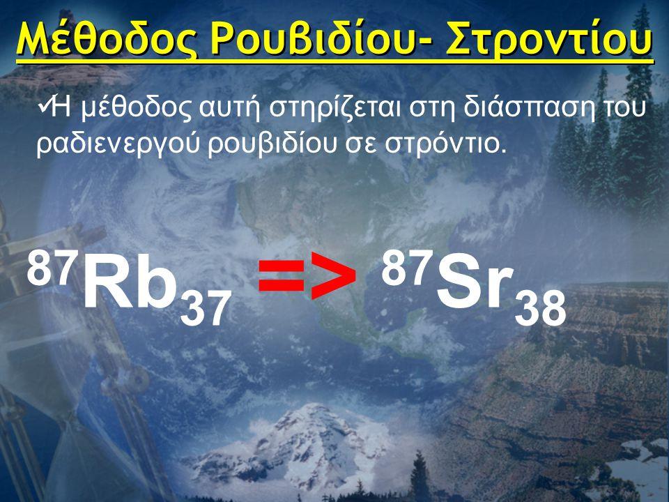 Μέθοδος Ρουβιδίου- Στροντίου  Η μέθοδος αυτή στηρίζεται στη διάσπαση του ραδιενεργού ρουβιδίου σε στρόντιο. 87 Rb 37 => 87 Sr 38