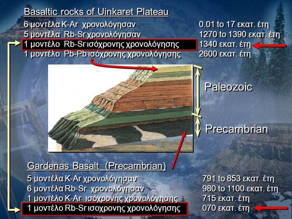Basaltic rocks of Uinkaret Plateau 6 μοντέλα K-Ar χρονολόγησαν0.01 to 17 εκατ. έτη 5 μοντέλα Rb-Sr χρονολόγησαν 1270 to 1390 εκατ. έτη 1 μοντέλο Rb-Sr