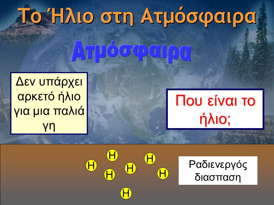 Το Ήλιο στη Ατμόσφαιρα H H H H H H H Δεν υπάρχει αρκετό ήλιο για μια παλιά γη Ραδιενεργός διασπαση Που είναι το ήλιο;