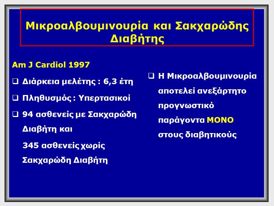 Μικροαλβουμινουρία και Σακχαρώδης Διαβήτης Am J Cardiol 1997  Διάρκεια μελέτης : 6,3 έτη  Πληθυσμός : Υπερτασικοί  94 ασθενείς με Σακχαρώδη Διαβήτη