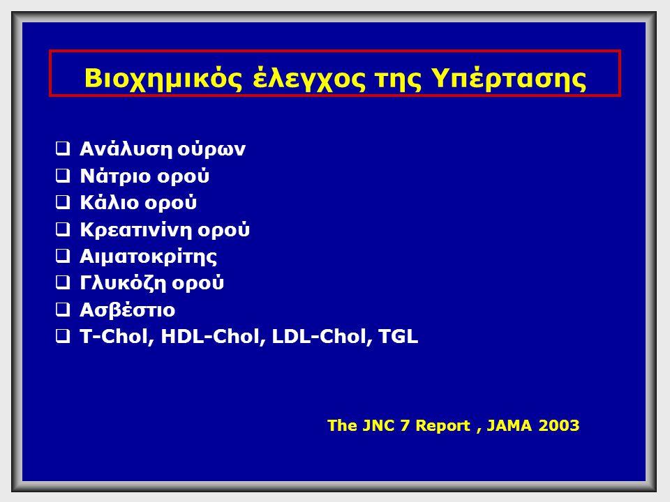Εργαστηριακές Εξετάσεις ρουτίνας στο υπερτασικό άτομο  Γλυκόζη πλάσματος (κατά προτίμηση νηστείας)  Ολική χοληστερόλη ορού  HDL  Τριγλυκερίδια ορού νηστείας  Ουρικό οξύ  Κρεατινίνη ορού  Κάλιο ορού  Αιμοσφαιρίνη και Αιματοκρίτης  Γενική εξέταση ούρων  ΗΚΓ + LDL + Ασβέστιο ορού - ουρικό οξύ ESC/ESH 2003 JNC VII