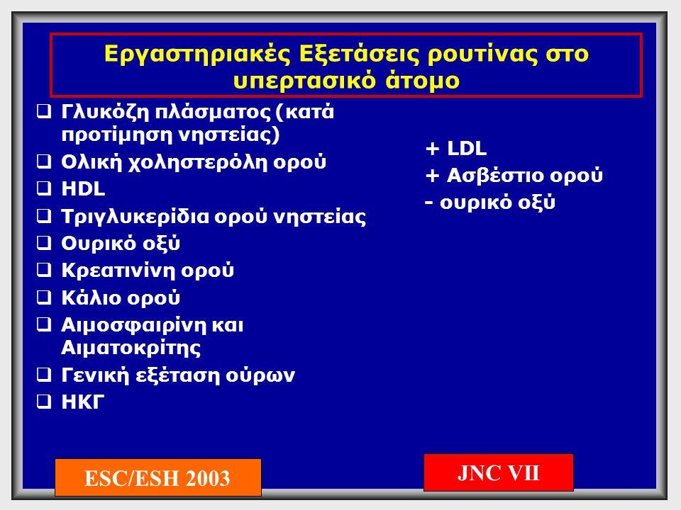 Προτεινόμενες εργαστηριακές εξετάσεις στον υπερτασικό  Echo καρδιάς  U/S καρωτίδων και μηριαίων αρτηριών  C-αντιδρώσα πρωτεΐνη  Μικροαλβουμινουρία (απαραίτητη εξέταση σε διαβητικούς ασθενείς)  Ποσοτικός προσδιορισμός πρωτεϊνουρίας (εάν το stick ούρων είναι θετικό)  Βυθοσκόπηση (σε σοβαρού βαθμού ΑΥ) ESC/ESH 2003