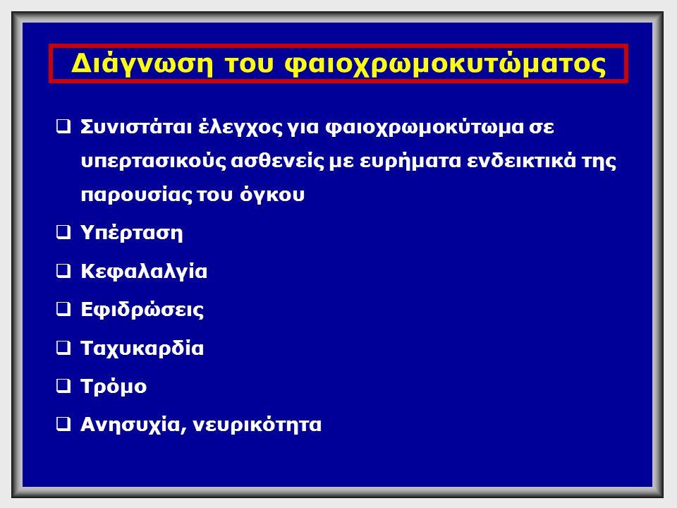 Διάγνωση του φαιοχρωμοκυτώματος  Κατεχολαμίνες πλάσματος: >2000pg/ml (11,8 nmol/L) Διαγνωστικό Κριτήριο  Κατεχολαμίνες πλάσματος: >950pg/ml (5,6 nmol/L)  Δοκιμασία Κλονιδίνης: χορήγηση 0,3 mg κλονιδίνης.