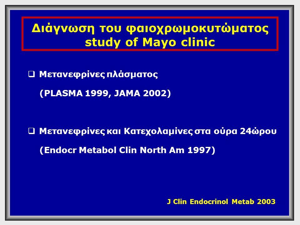 Διάγνωση του φαιοχρωμοκυτώματος study of Mayo clinic  Μετανεφρίνες πλάσματος (PLASMA 1999, JAMA 2002)  Μετανεφρίνες και Κατεχολαμίνες στα ούρα 24ώρο