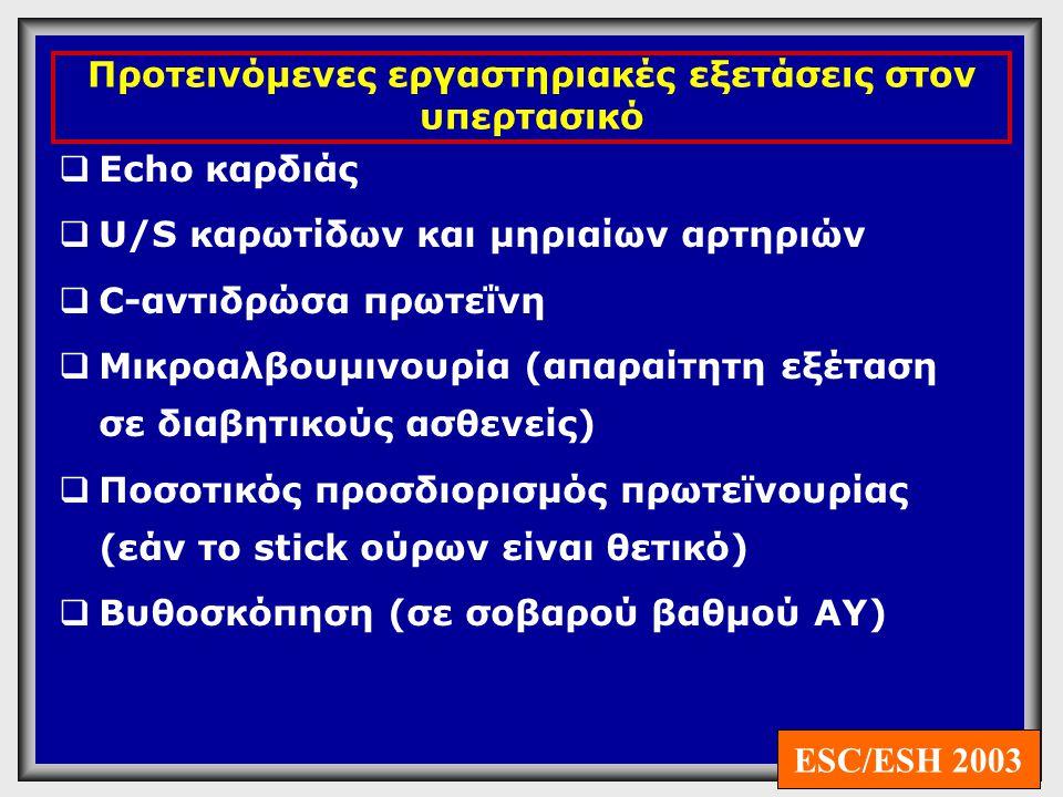 Βιοχημικός έλεγχος Ούρων  Πρωτεϊνουρία ( >300mg/24ωρο ή >200μg/min): διαβητική νεφροπάθεια και σε νεφρική νόσο  Μικροσκοπική Αιματουρία: κακοήθη υπέρταση, υπερτασική νεφροσκλήρυνση  Γλυκοζουρία : σακχαρώδης διαβήτης
