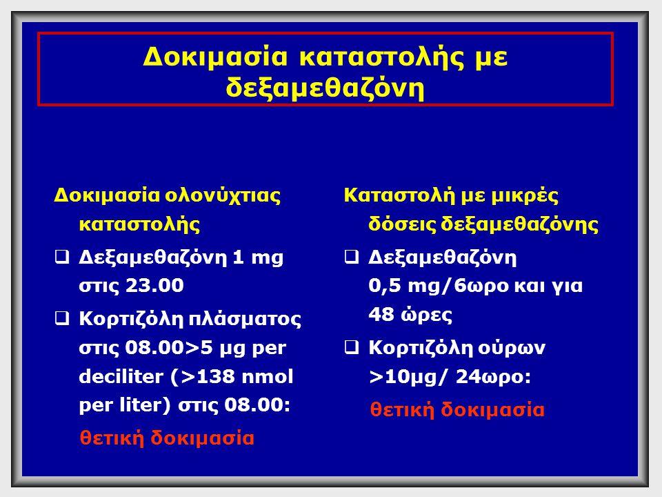 Δοκιμασία καταστολής με δεξαμεθαζόνη Δοκιμασία ολονύχτιας καταστολής  Δεξαμεθαζόνη 1 mg στις 23.00  Κορτιζόλη πλάσματος στις 08.00>5 µg per decilite
